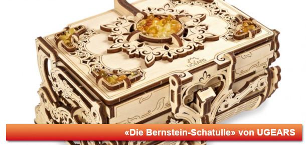 Mechanisches Holzmodell Bernstein-Schatulle